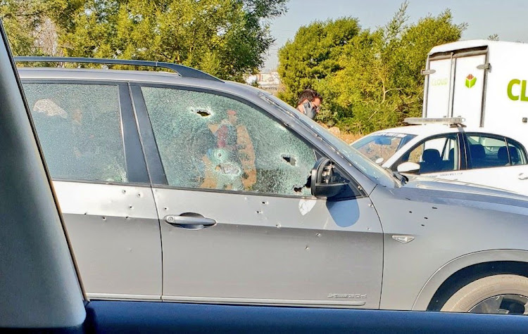 An image of a BMW X5 riddled with bullet holes it was appears to have been an organised hit at Malibongwe and Pres Fouche on 17 July 2018