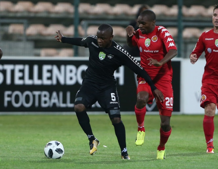 Mbulelo Wambi of Stellenbosch FC during the Nedbank Cup, Last 32 match between Stellenbosch FC and Highlands Park at Athlone Stadium on February 14, 2018 in Cape Town.