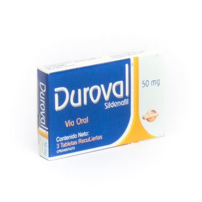 Sildenafil Duroval 50 mg x 3 Tabletas