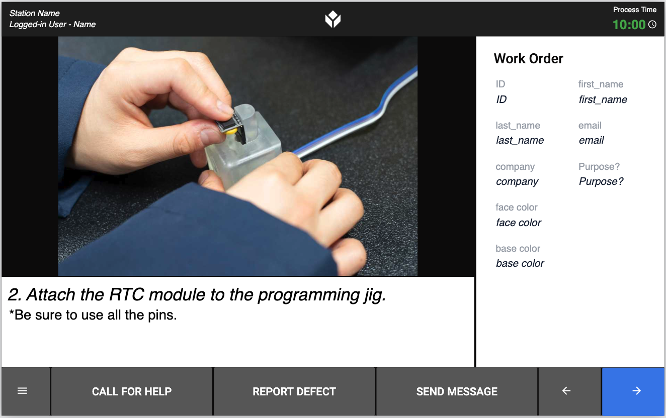 Screenshot from the app asking an operator to program the RTC module