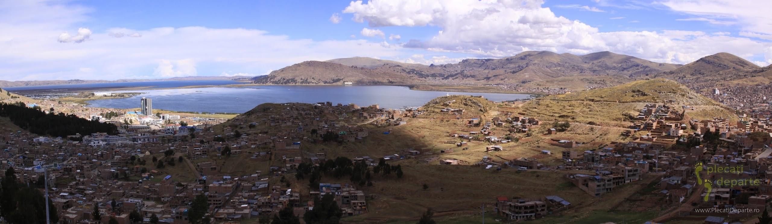 panorama orasului Puno, pe malul Lacului Titicaca, la 4000m in Peru