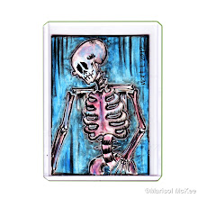 Photo: Calaveras #39. 2 ½  inches x 3 ½  inches or 6 cm x 9 cm. Watercolor and ink on 110 lb. acid-free paper. Signed and dated on the front; title, date, and signature on reverse. Sealed with a matte finish. Comes in a clear rigid plastic top-loader. ©Marisol McKee. http://MarisolMcKee.com/.