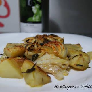 Hake and Baked Potato with Green Tea.