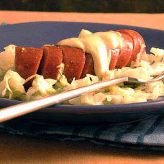 Braised Cabbage and Leeks with Turkey Sausage.