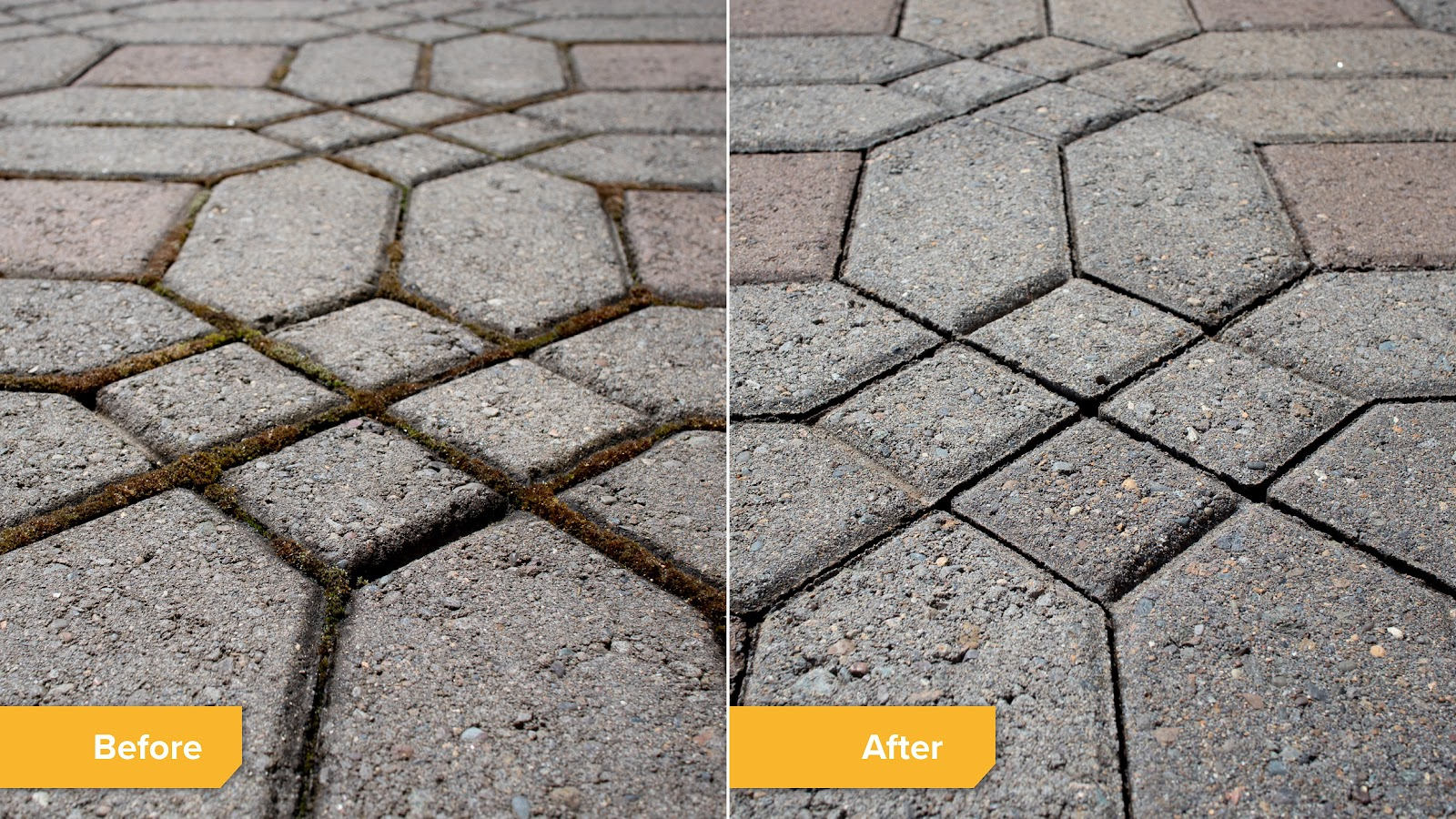 Before and after moss cleaning in paving stones