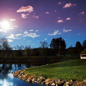 Supermoon Park by Angelica Less - City,  Street & Park  Night ( park, night, south dakota, gazebo, supermoon )