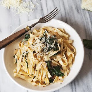 Fettuccine with Caramelized Onions + Swiss Chard.