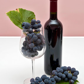 In Vino Veritas by Mladen Bozickovic - Artistic Objects Other Objects ( beverage, grapes, blue, quality, croatia, glass, vino, leaf, leaves, bottle )