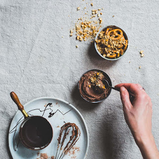 No-Bake Dark Chocolate Cheesecake Pots with Pretzel Crunch Recipe