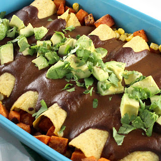 Sweet Potato & Corn Enchiladas with Mole Sauce.