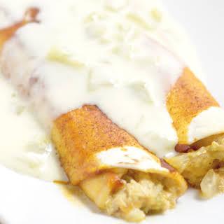 Green Chile Chicken Enchiladas with White Sauce.