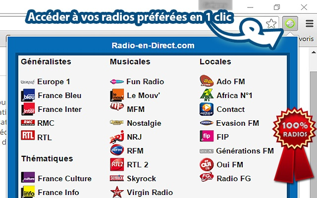 Extension Radio en direct Google Chrome