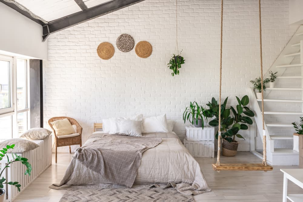 bedroom with boho design