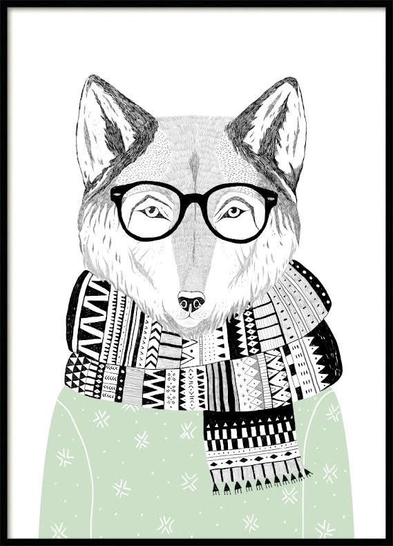 Green Fox Poster
