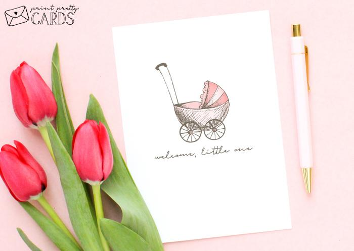 Pink Printable Baby Shower Card