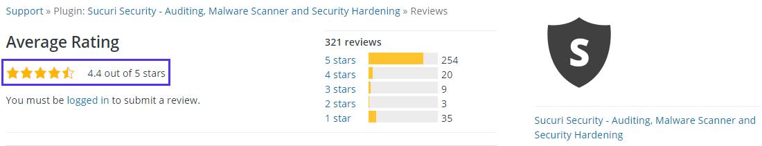 Xếp hạng 4 sao của plugin Sucuri Security trên kho lưu trữ WordPress