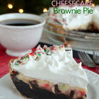 Peppermint Bark Cheesecake Brownie Pie