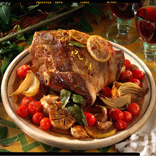 Braised Leg of Lamb with Garlic, Onions and Tomatoes.
