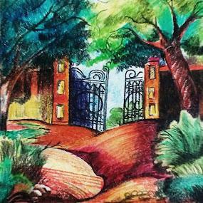 Haunted house entrance by Satyabrata Paul - Drawing All Drawing