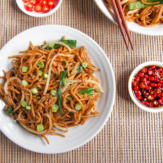 Economy Soy Sauce Stir-Fried Noodles + Chili Soy Sauce Dip.