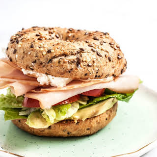 Turkey, Goat Cheese and Rosemary Bagel Sandwich.