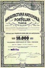 Photo: Actiune emisa de Manufactura Nationala Portelanu - 1939 -  sursa Facebook, Remus Chiorean https://www.facebook.com/photo.php?fbid=1467366760243473&set=a.1461038877542928.1073741826.100009104908756&type=1&theater