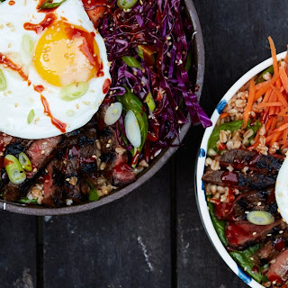 Korean-Style Grain Bowls With Spicy Marinated Steak.