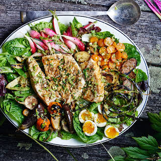 Grilled Halibut Niçoise with Market Vegetables.