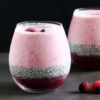 Layered Berry Smoothie Chia Pudding.