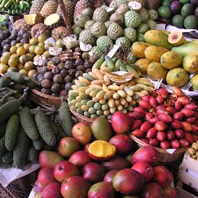 by Vicki Clemerson - Food & Drink Fruits & Vegetables ( fruit, funchal fruit market, piles of fruit,  )