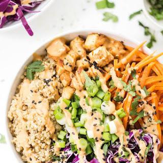 Asian Quinoa Bowls with Peanut Baked Tofu.