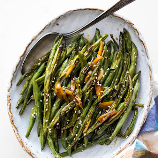 Oven Roasted Green Beans with Garlic Soy Glaze.