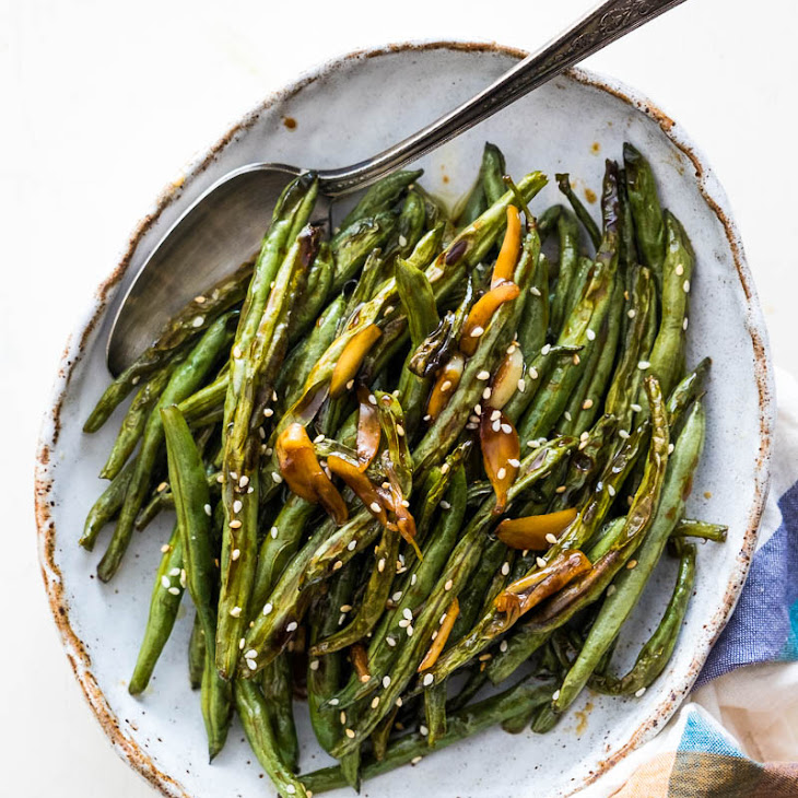 Oven Roasted Green Beans with Garlic Soy Glaze