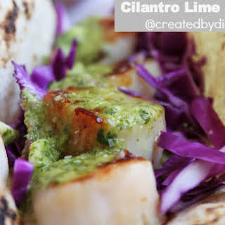Cilantro Lime Sauce on Scallop Tacos.
