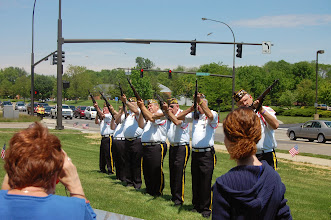 Photo: Rifle Salute by VFW Post #8312 - note the shell casings in the air