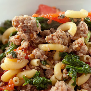 Macaroni with Sausage, Greens and Tomatoes
