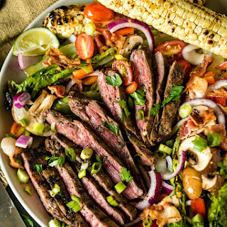 Grilled Coffee Crusted Flank Steak Salad.