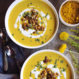 Curried Butternut Squash Soup with Maple Turmeric Roasted Pepitas {gluten-free, paleo, vegan}