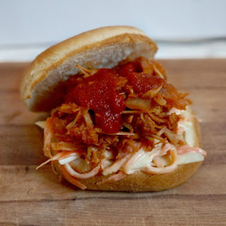 Vegan BBQ pulled pork (jackfruit) and slaw buns