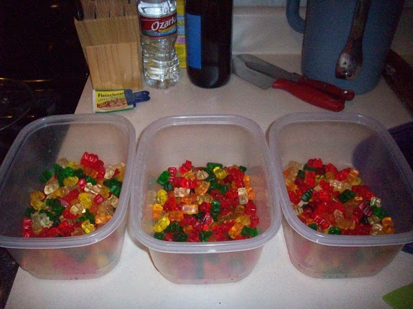 Now that we have all the materials start by evenly dividing the gummi bears...