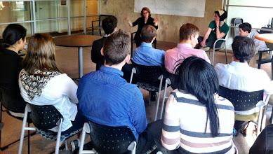 Photo: Katie Rae, Managing Director of TechStars Boston, w/BC students