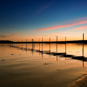 Orange Water by Kim Borup Matzen - Landscapes Sunsets & Sunrises ( water, orange, sunset, bridge, denmark, spring )