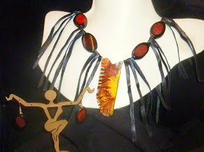 Photo: <BEREHYNYA> {Great Goddess Protectress} unique one-of-a-kind statement jewellery by Luba Bilash ART & ADORNMENT  AVIA - АВІА - copper enamel pendant, carnelian, onyx, leather, rose gold vermeil lobster claw clasp/chains/French wires $120/set SOLD/ПРОДАНИЙ