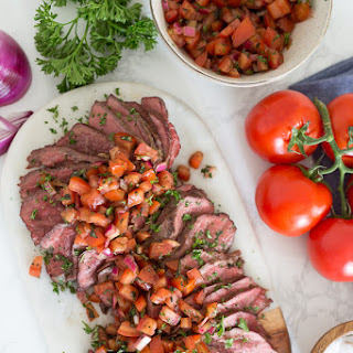Grilled Steak With Tomatoes, Red Onion and Balsamic.