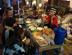 """Photo: A """"cooking school"""" on the street during the """"Sunday night market""""."""