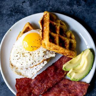 Sweet Corn Honey Jalapeno Zucchini Cornbread Waffles with Turkey Bacon & Eggs.