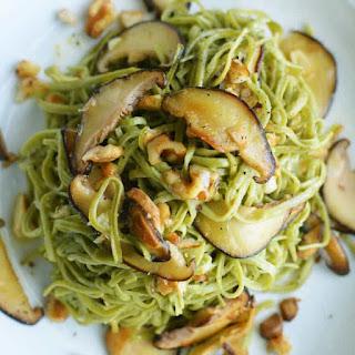 Mushroom Walnut Edamame Spaghetti Noodles.