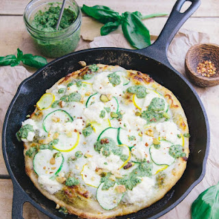Skillet Zucchini Pesto Pizza