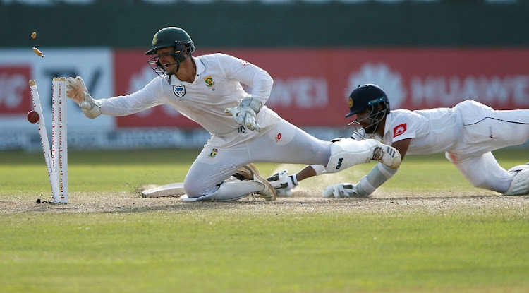 Sri Lanka's Kusal Mendis is run out by South Africa's wicketkeeper Quinton de Kock.