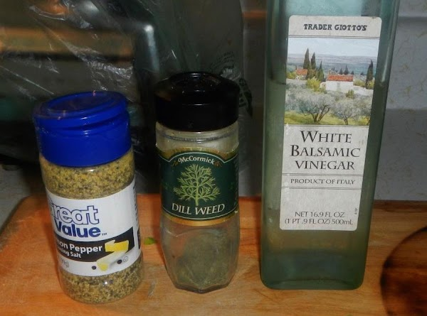 Put cucumbers in mixing bowl,  with the balsamic vinegar, dill weed, lemon pepper oil and...
